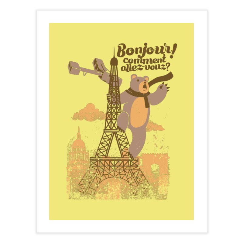 Paris King Kong Bear Eiffel Tower Home Fine Art Print by Tobe Fonseca's Artist Shop
