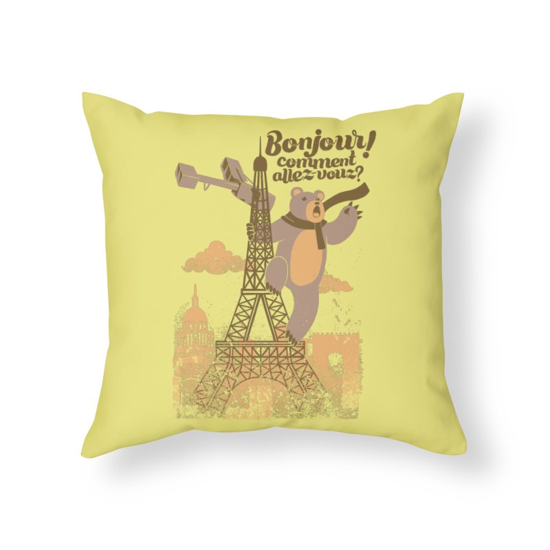 Paris King Kong Bear Eiffel Tower Home Throw Pillow by Tobe Fonseca's Artist Shop