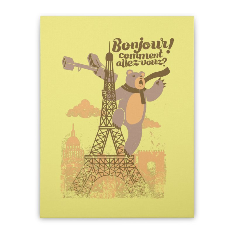 Paris King Kong Bear Eiffel Tower Home Stretched Canvas by Tobe Fonseca's Artist Shop