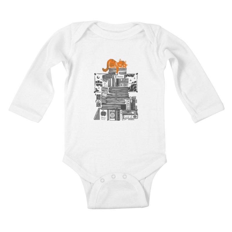Sleeping on my threasure black and white Kids Baby Longsleeve Bodysuit by Tobe Fonseca's Artist Shop