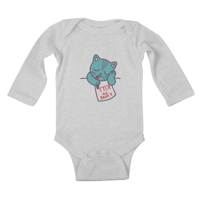 I Love To Kill Cat Kids Baby Longsleeve Bodysuit by Tobe Fonseca's Artist Shop