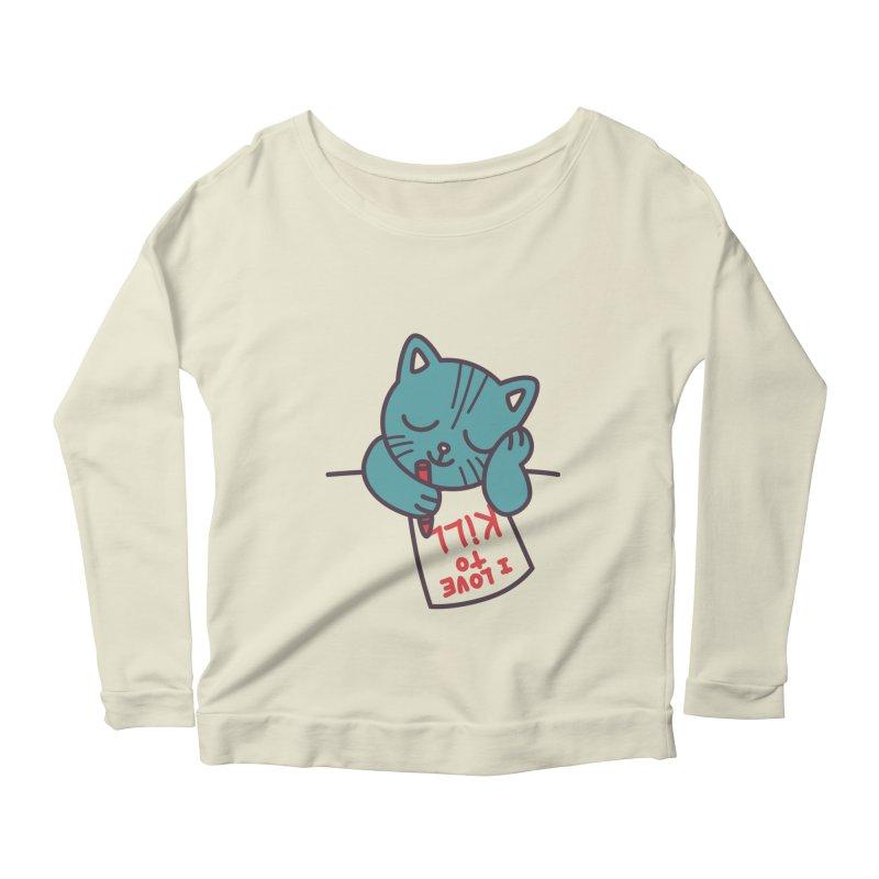 I Love To Kill Cat Women's Longsleeve Scoopneck  by Tobe Fonseca's Artist Shop