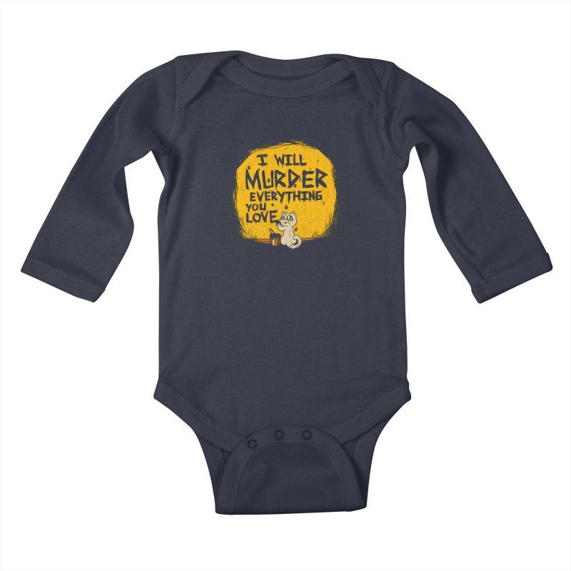 Ill Murder Everything You Love Cat Kids Baby Longsleeve Bodysuit by Tobe Fonseca's Artist Shop