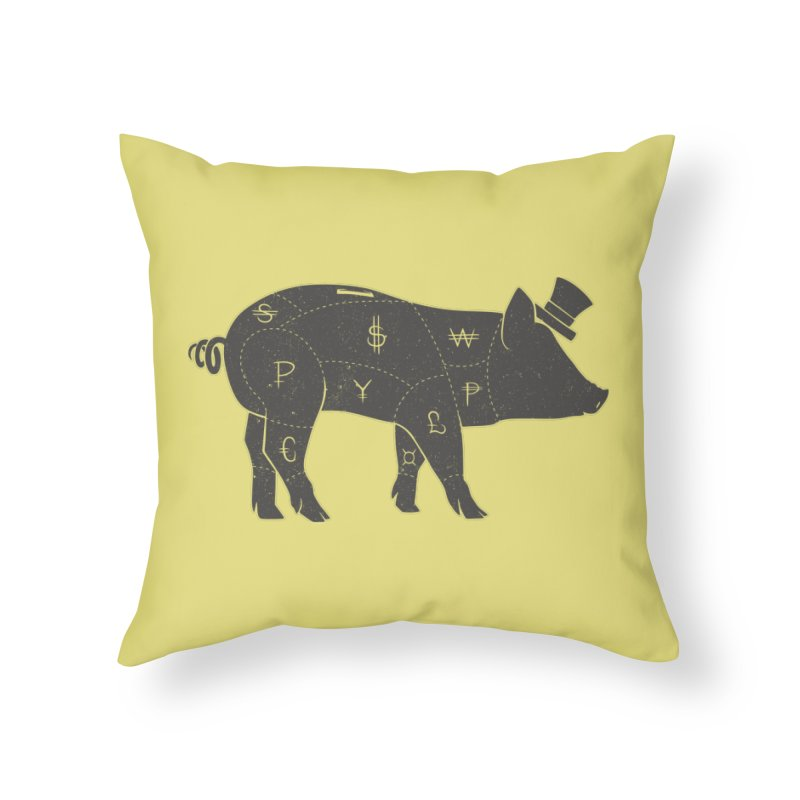 Piggy Bank Home Throw Pillow by Tobe Fonseca's Artist Shop