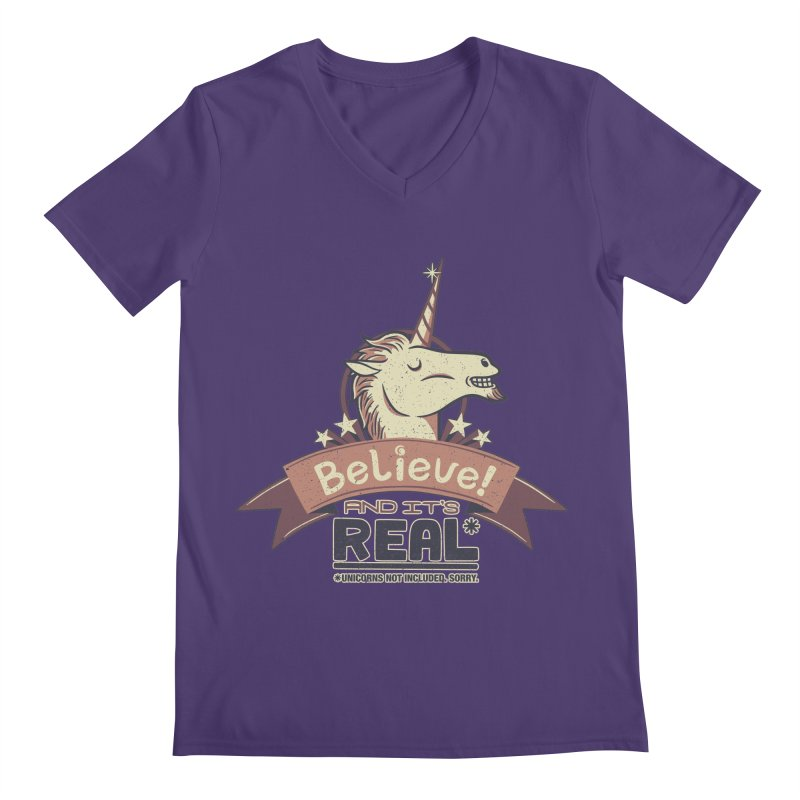 Unicorn Believe And Its Real Men's V-Neck by Tobe Fonseca's Artist Shop