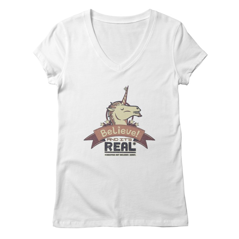 Unicorn Believe And Its Real Women's V-Neck by Tobe Fonseca's Artist Shop