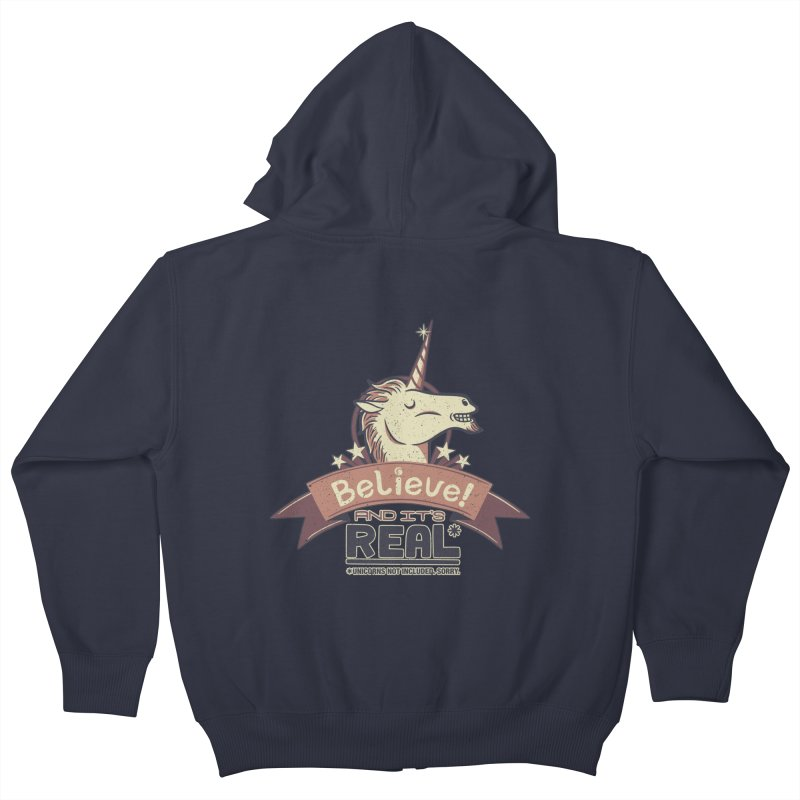 Unicorn Believe And Its Real Kids Zip-Up Hoody by Tobe Fonseca's Artist Shop