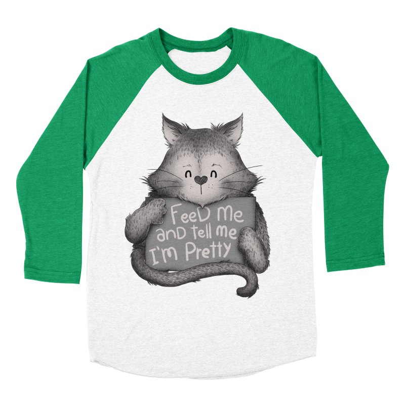 Feed Me And Tell Me I'm Pretty Cat Men's Baseball Triblend T-Shirt by Tobe Fonseca's Artist Shop