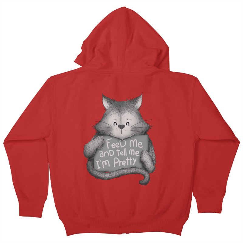 Feed Me And Tell Me I'm Pretty Cat Kids Zip-Up Hoody by Tobe Fonseca's Artist Shop