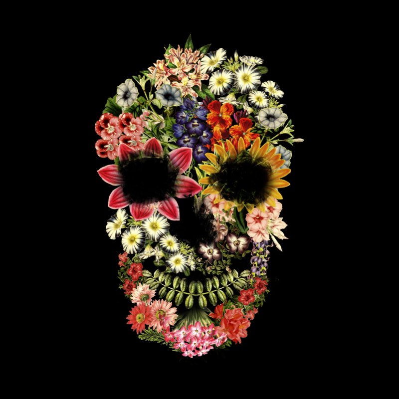 Floral Skull Vintage Black by Tobe Fonseca's Artist Shop