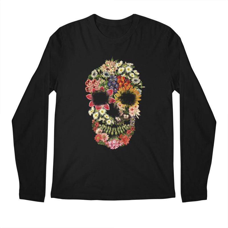 Floral Skull Vintage Black Men's Longsleeve T-Shirt by Tobe Fonseca's Artist Shop