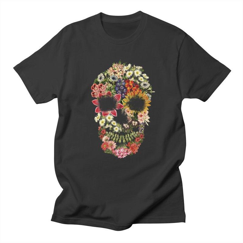 Floral Skull Vintage Black Men's T-shirt by Tobe Fonseca's Artist Shop