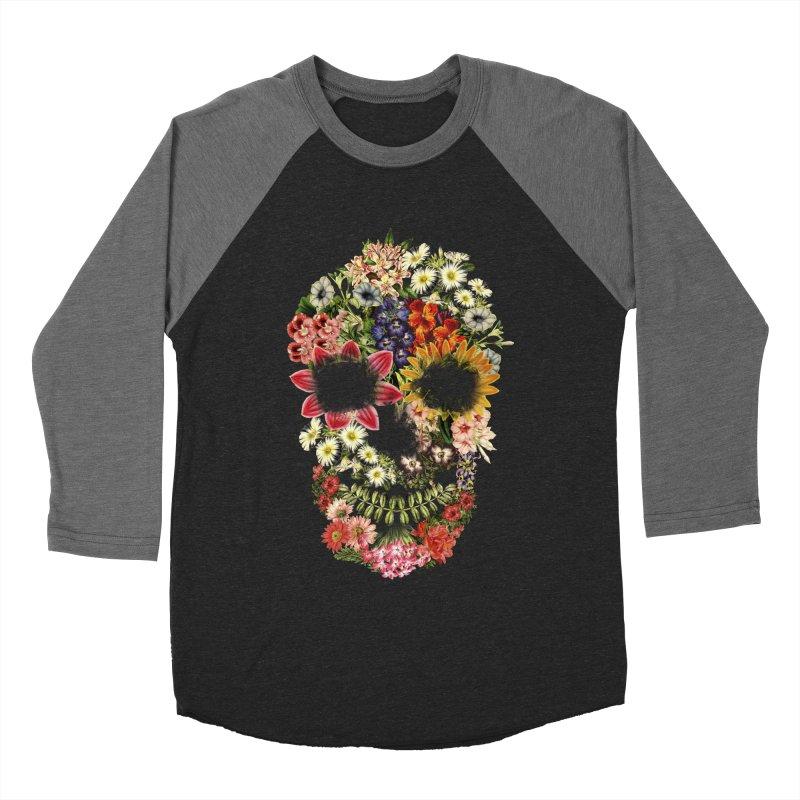 Floral Skull Vintage Black Men's Baseball Triblend T-Shirt by Tobe Fonseca's Artist Shop