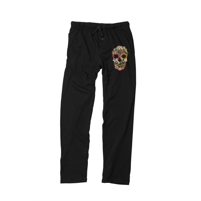 Floral Skull Vintage Black Women's Lounge Pants by Tobe Fonseca's Artist Shop