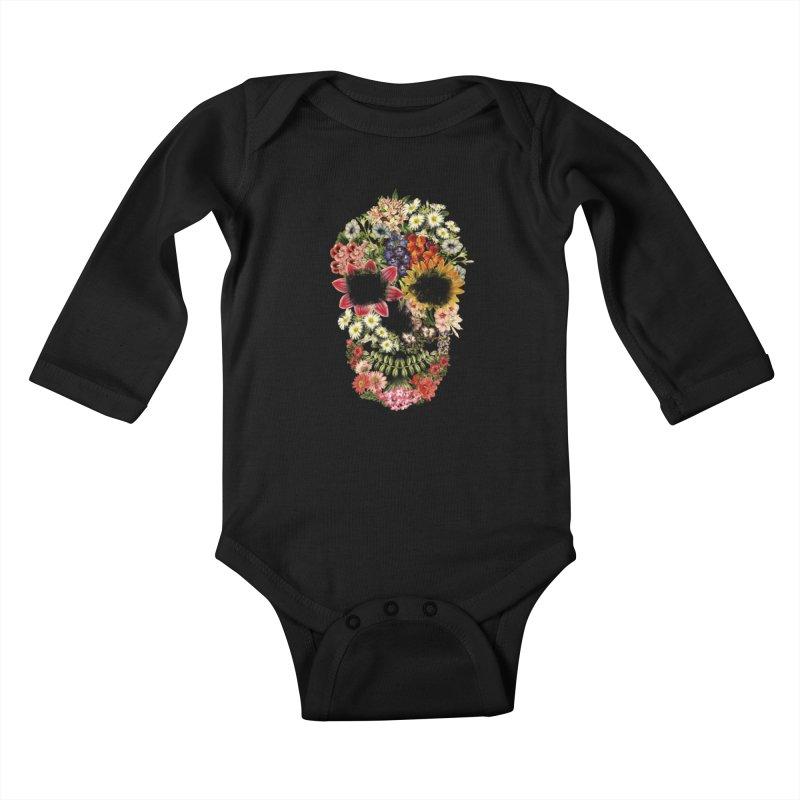 Floral Skull Vintage Black Kids Baby Longsleeve Bodysuit by Tobe Fonseca's Artist Shop
