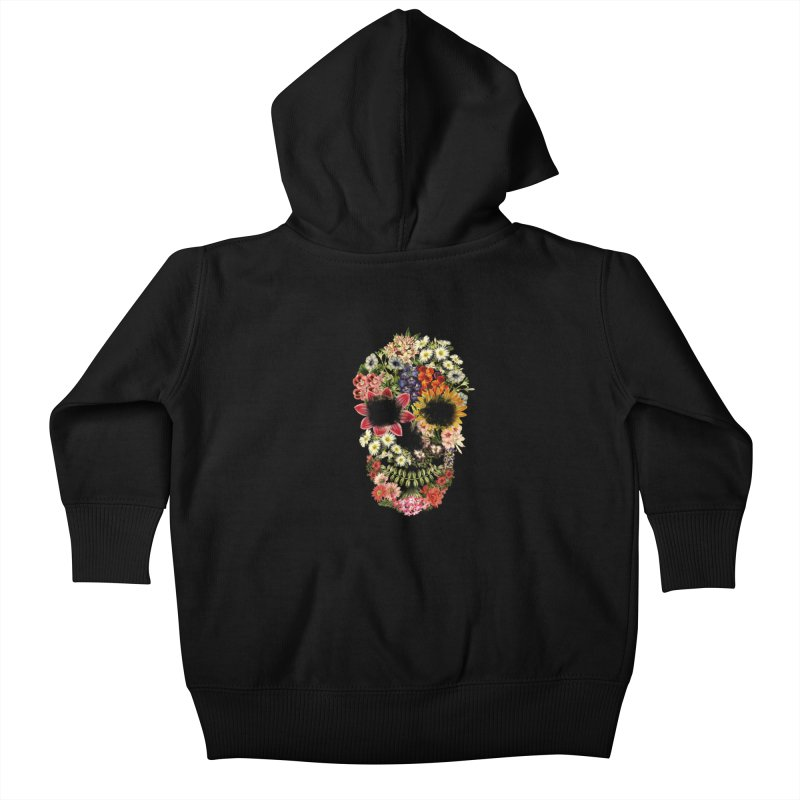 Floral Skull Vintage Black Kids Baby Zip-Up Hoody by Tobe Fonseca's Artist Shop