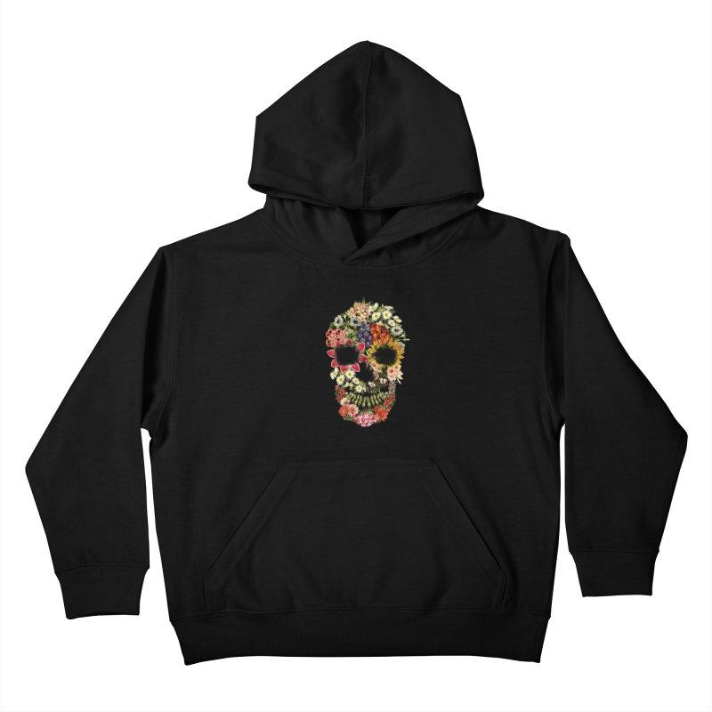 Floral Skull Vintage Black Kids Pullover Hoody by Tobe Fonseca's Artist Shop