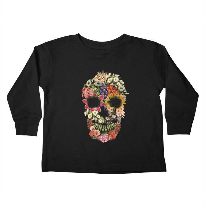 Floral Skull Vintage Black Kids Toddler Longsleeve T-Shirt by Tobe Fonseca's Artist Shop