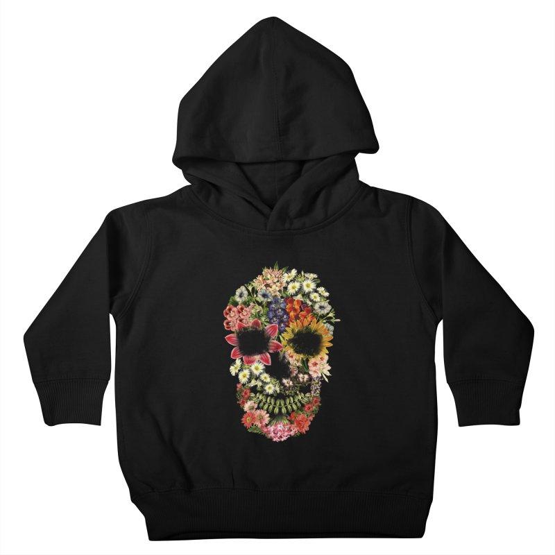 Floral Skull Vintage Black Kids Toddler Pullover Hoody by Tobe Fonseca's Artist Shop