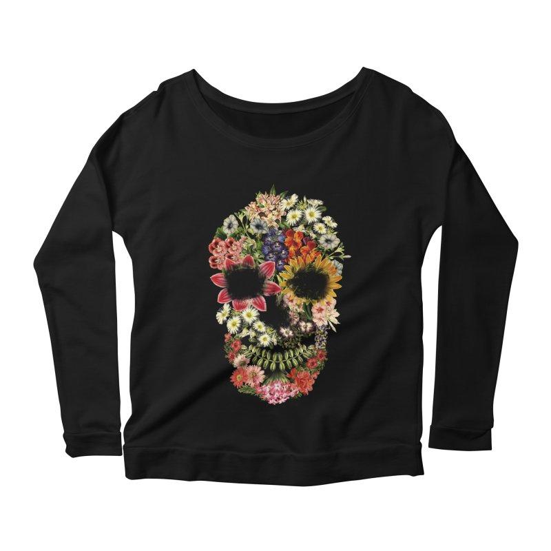 Floral Skull Vintage Black Women's Longsleeve Scoopneck  by Tobe Fonseca's Artist Shop
