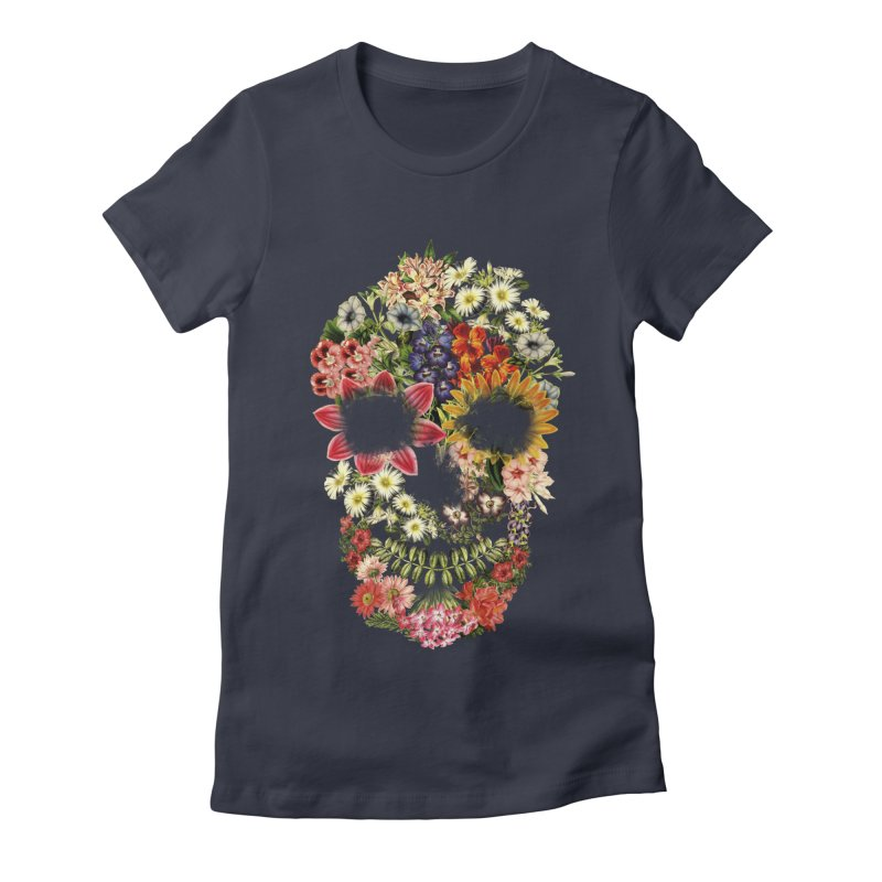 Floral Skull Vintage Black Women's Fitted T-Shirt by Tobe Fonseca's Artist Shop