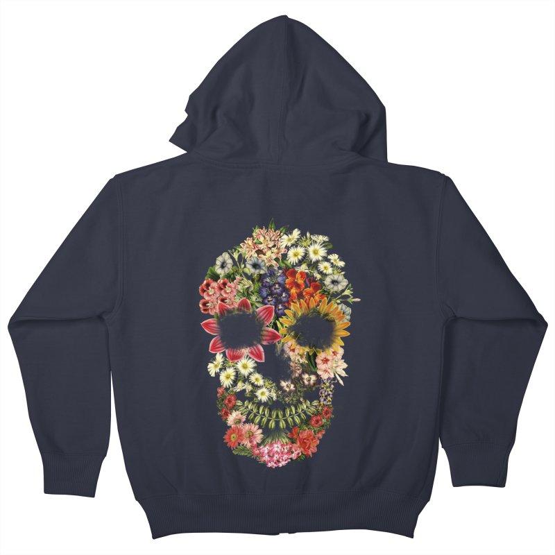 Floral Skull Vintage Black Kids Zip-Up Hoody by Tobe Fonseca's Artist Shop