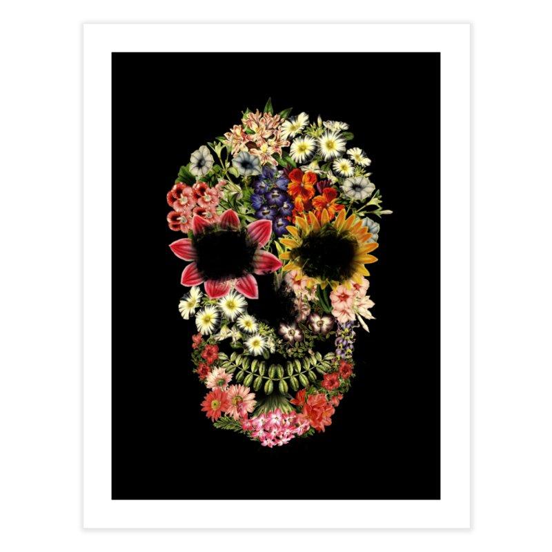 Floral Skull Vintage Black Home Fine Art Print by Tobe Fonseca's Artist Shop