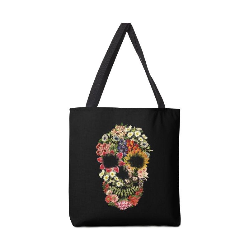 Floral Skull Vintage Black Accessories Bag by Tobe Fonseca's Artist Shop
