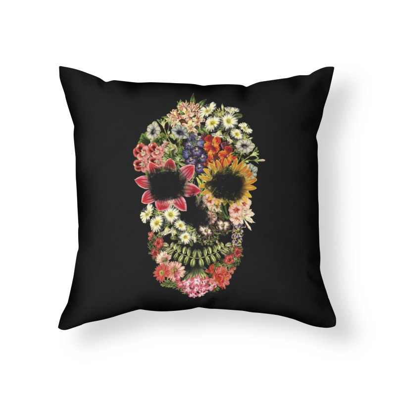 Floral Skull Vintage Black Home Throw Pillow by Tobe Fonseca's Artist Shop