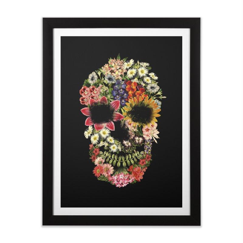 Floral Skull Vintage Black Home Framed Fine Art Print by Tobe Fonseca's Artist Shop