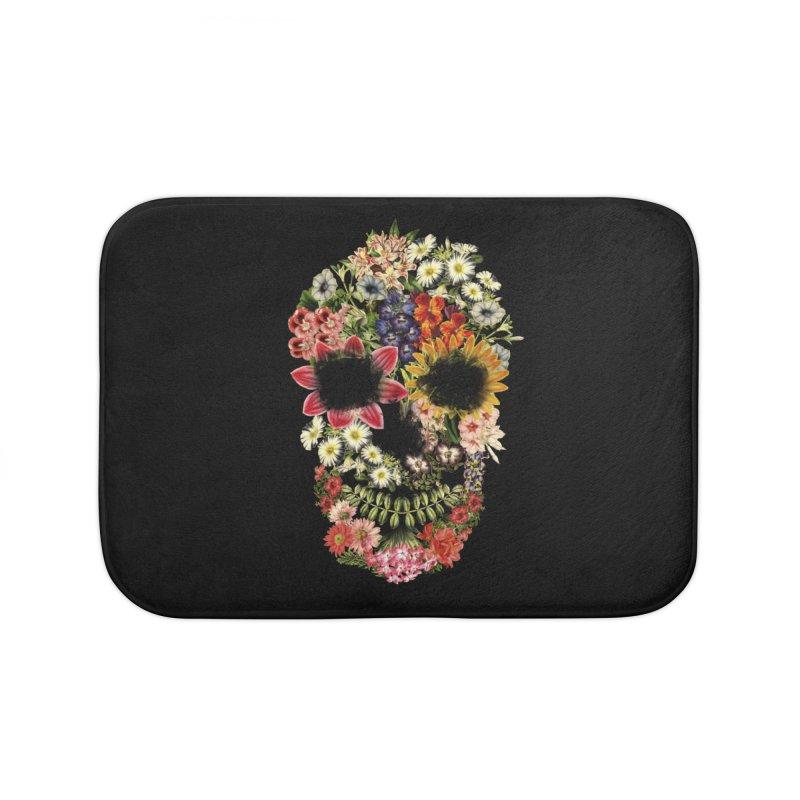 Floral Skull Vintage Black Home Bath Mat by Tobe Fonseca's Artist Shop