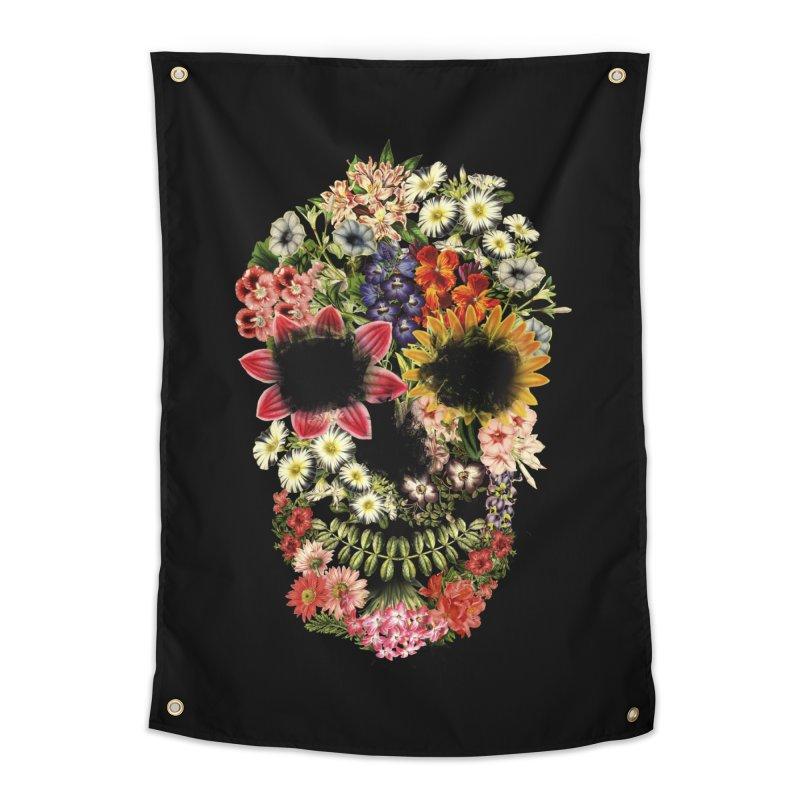 Floral Skull Vintage Black Home Tapestry by Tobe Fonseca's Artist Shop