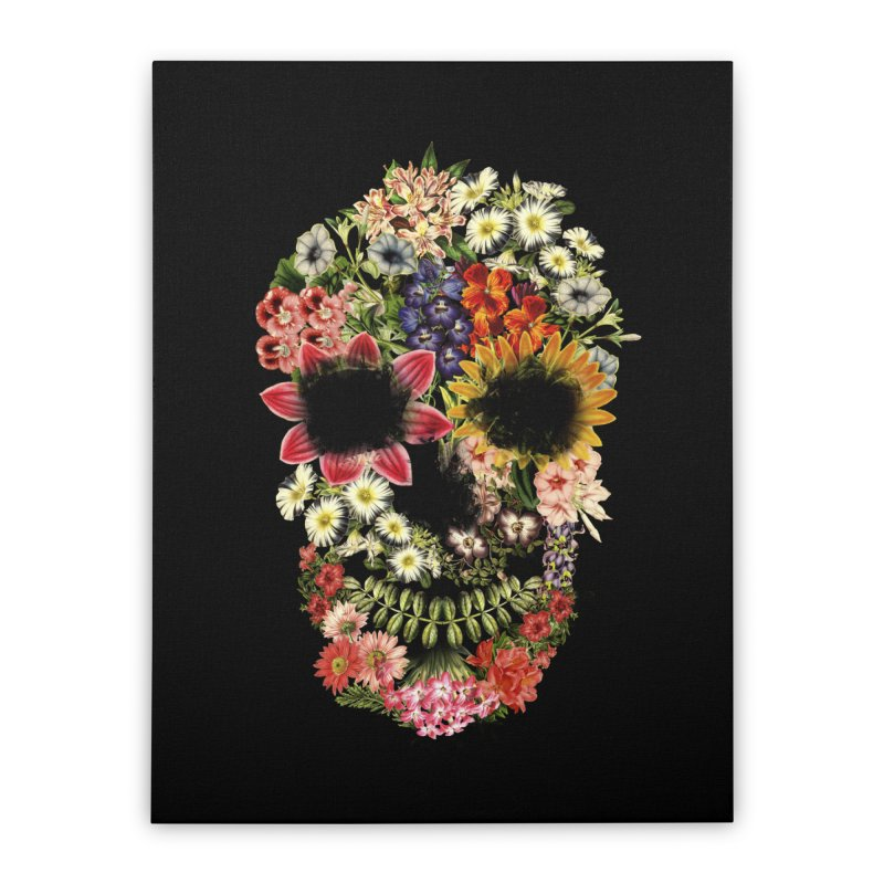Floral Skull Vintage Black Home Stretched Canvas by Tobe Fonseca's Artist Shop