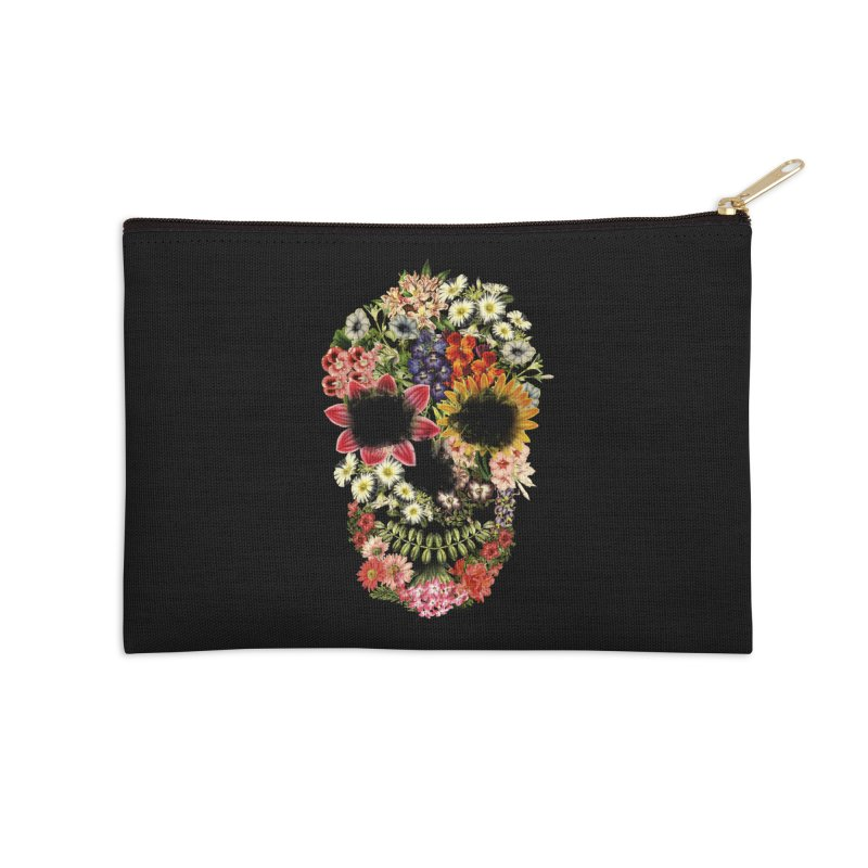 Floral Skull Vintage Black Accessories Zip Pouch by Tobe Fonseca's Artist Shop