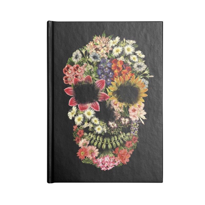 Floral Skull Vintage Black Accessories Notebook by Tobe Fonseca's Artist Shop
