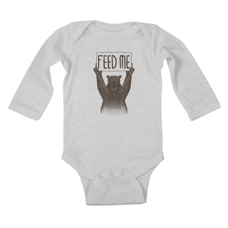 Feed Me Bear Kids Baby Longsleeve Bodysuit by Tobe Fonseca's Artist Shop