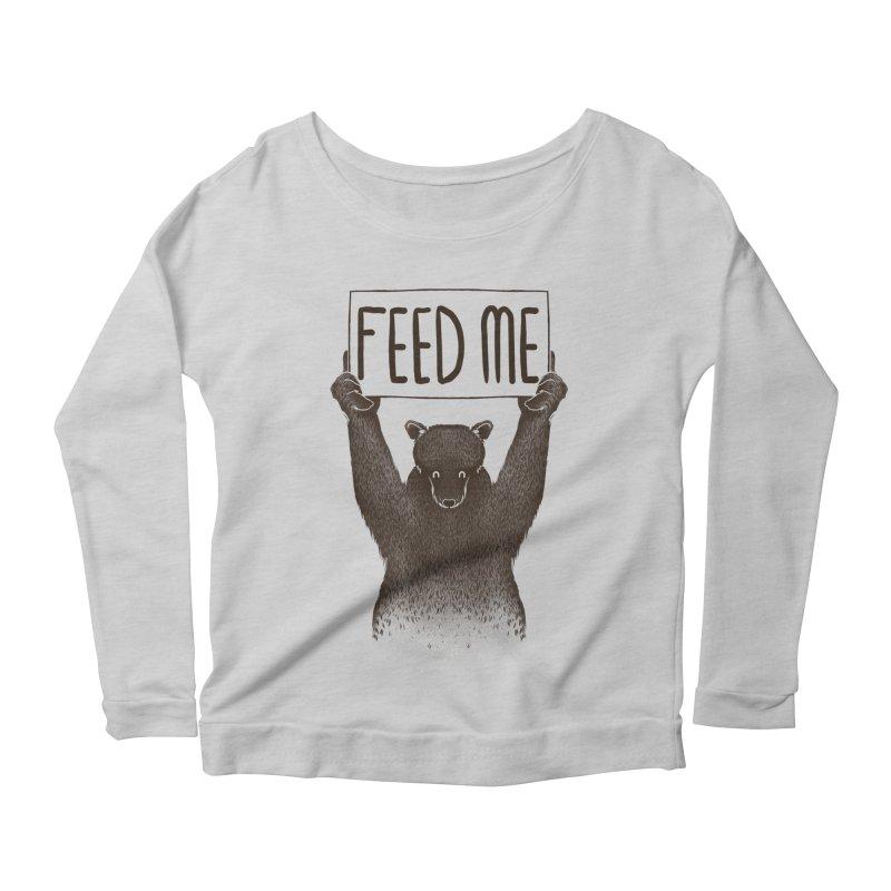 Feed Me Bear Women's Longsleeve Scoopneck  by Tobe Fonseca's Artist Shop