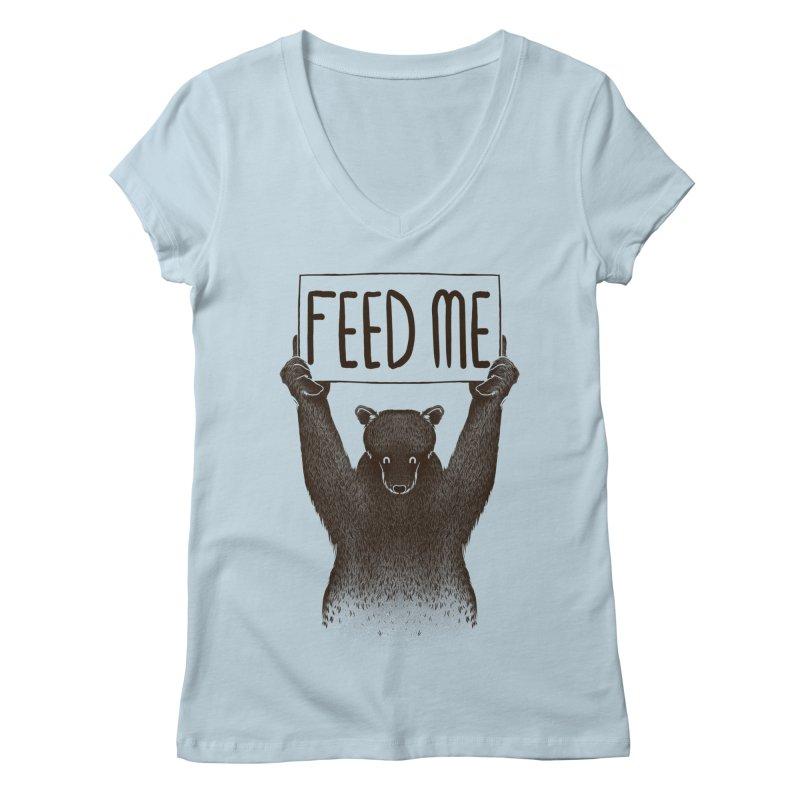 Feed Me Bear Women's V-Neck by Tobe Fonseca's Artist Shop