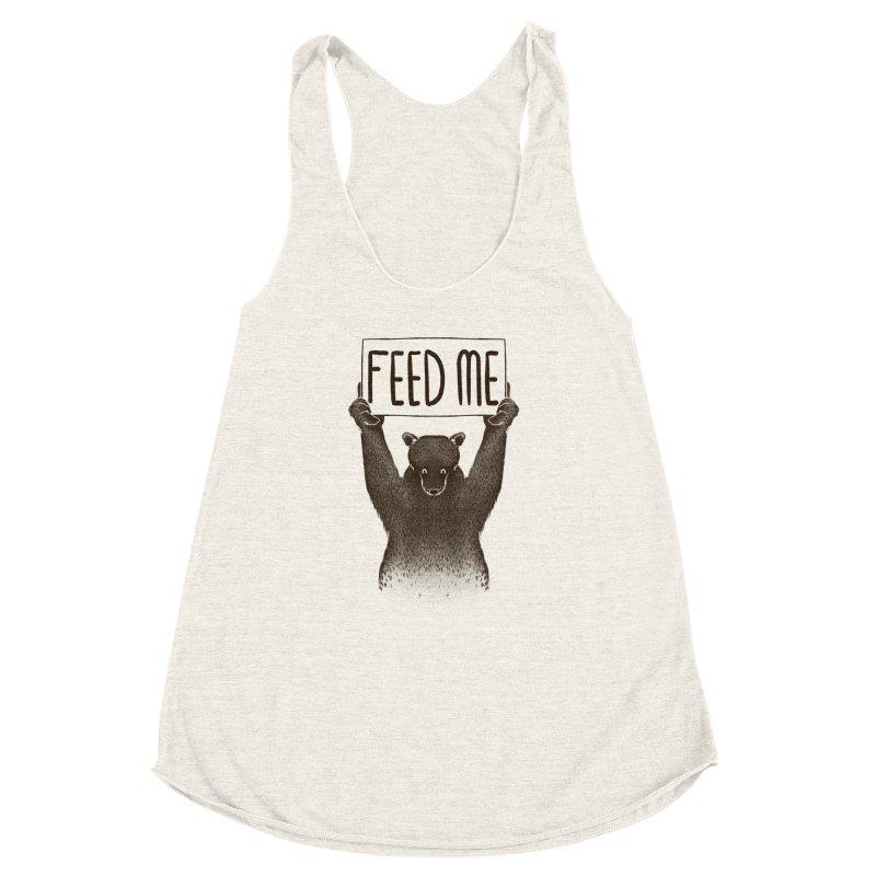 Feed Me Bear Women's Racerback Triblend Tank by Tobe Fonseca's Artist Shop