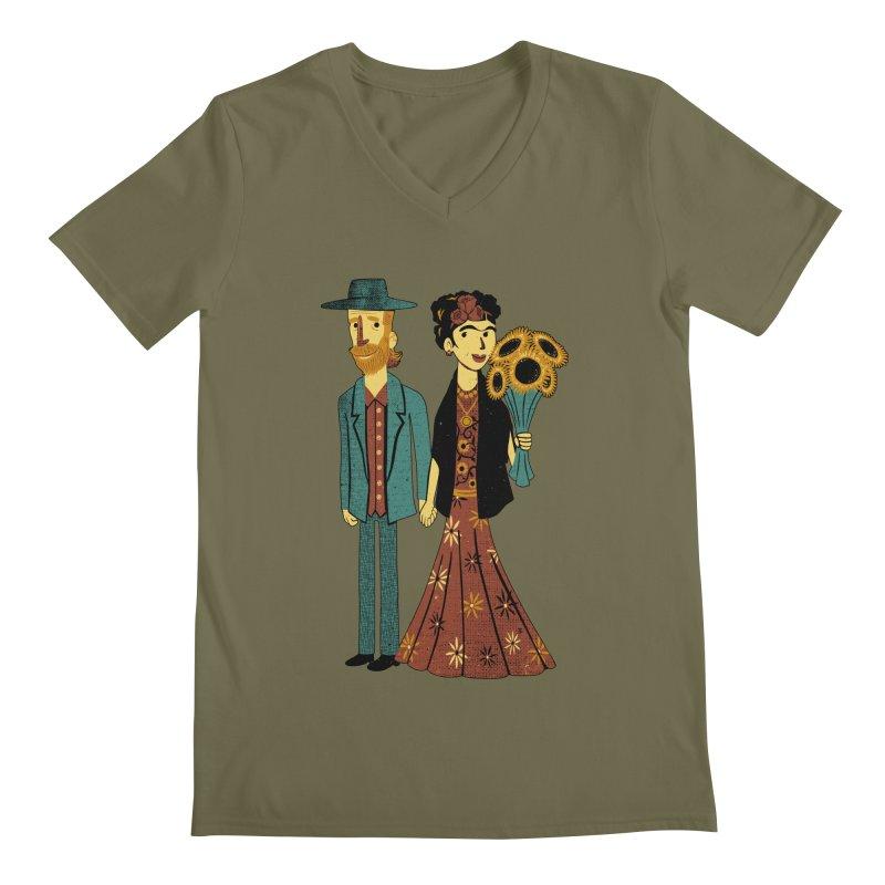 Love is Art Frida Kahlo and Van Gogh  Men's V-Neck by Tobe Fonseca's Artist Shop