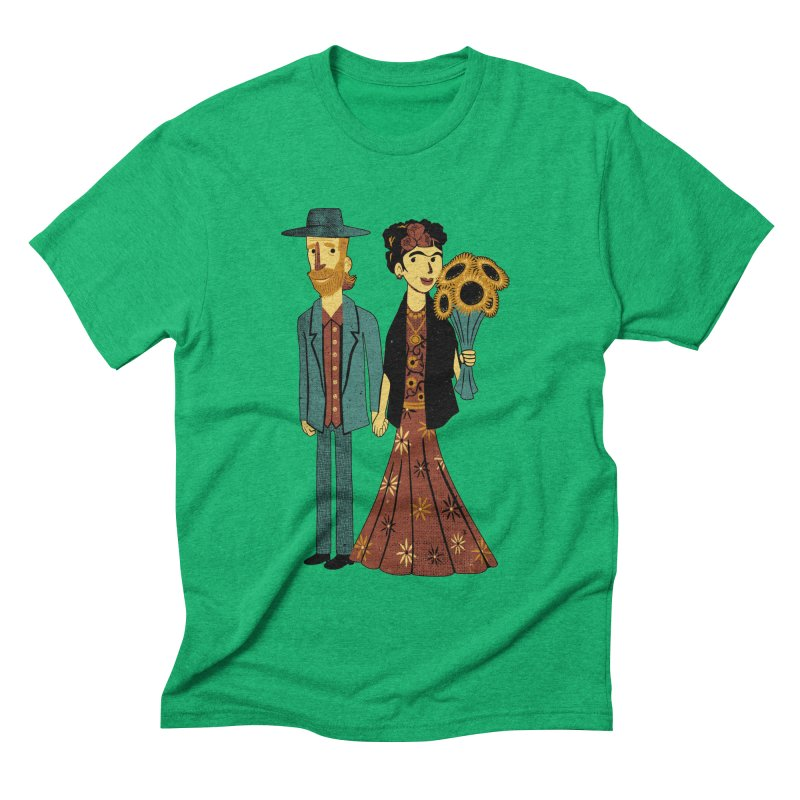 Love is Art Frida Kahlo and Van Gogh  Men's Triblend T-shirt by Tobe Fonseca's Artist Shop