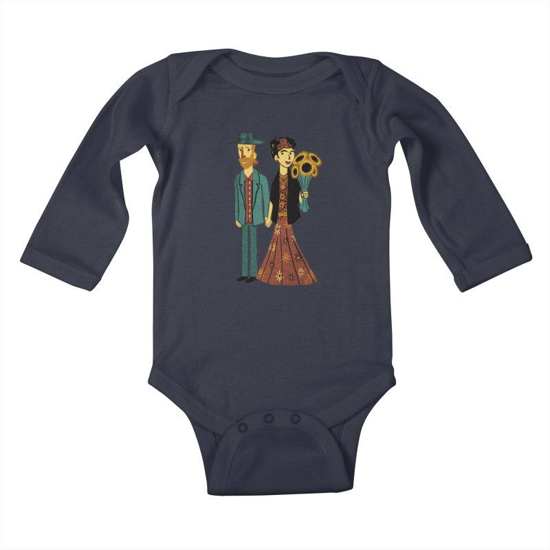 Love is Art Frida Kahlo and Van Gogh  Kids Baby Longsleeve Bodysuit by Tobe Fonseca's Artist Shop