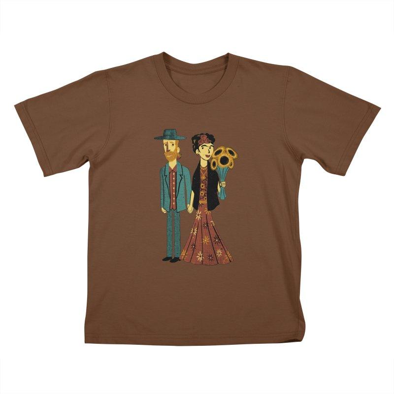 Love is Art Frida Kahlo and Van Gogh  Kids T-shirt by Tobe Fonseca's Artist Shop