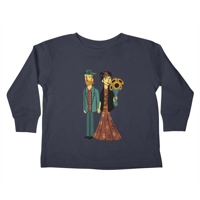 Love is Art Frida Kahlo and Van Gogh  Kids Toddler Longsleeve T-Shirt by Tobe Fonseca's Artist Shop