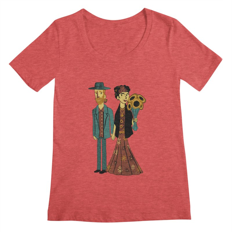 Love is Art Frida Kahlo and Van Gogh  Women's Scoopneck by Tobe Fonseca's Artist Shop