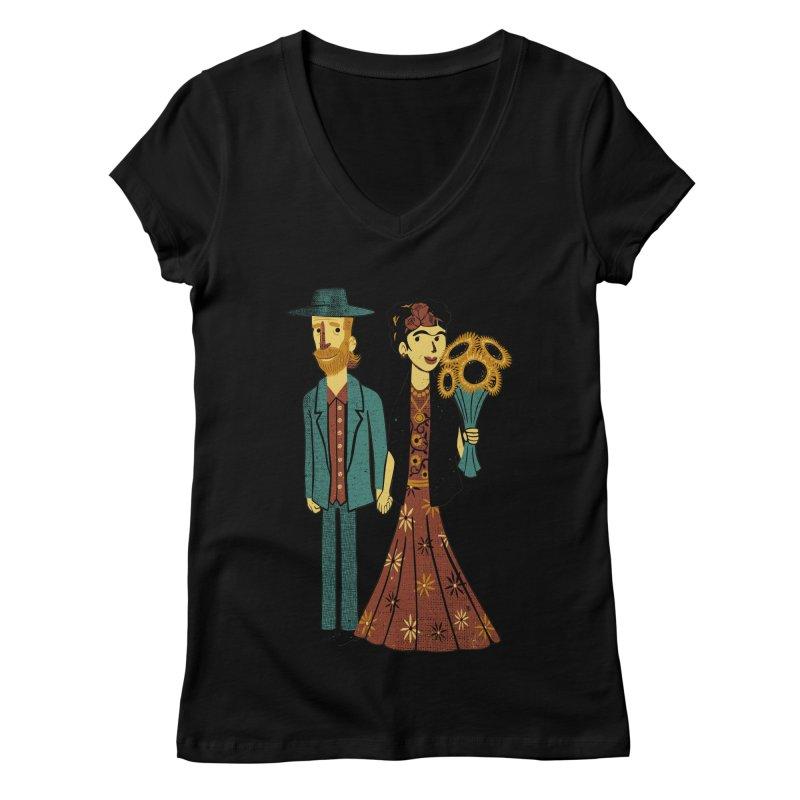 Love is Art Frida Kahlo and Van Gogh  Women's V-Neck by Tobe Fonseca's Artist Shop