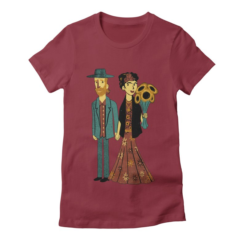 Love is Art Frida Kahlo and Van Gogh  Women's Fitted T-Shirt by Tobe Fonseca's Artist Shop