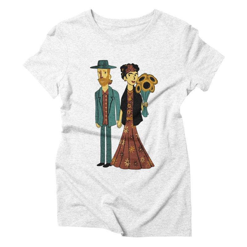 Love is Art Frida Kahlo and Van Gogh  Women's Triblend T-shirt by Tobe Fonseca's Artist Shop