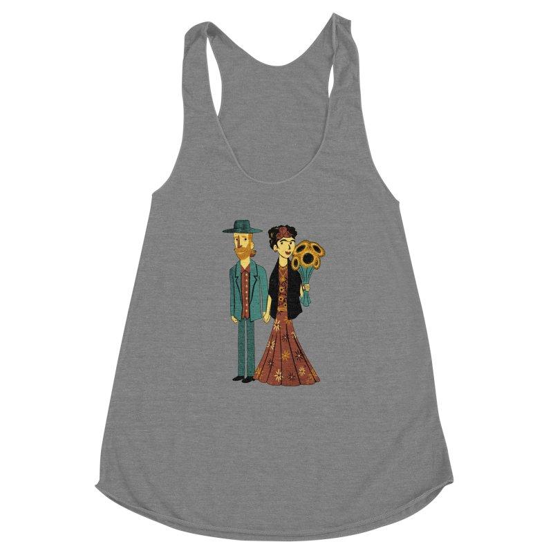 Love is Art Frida Kahlo and Van Gogh  Women's Racerback Triblend Tank by Tobe Fonseca's Artist Shop