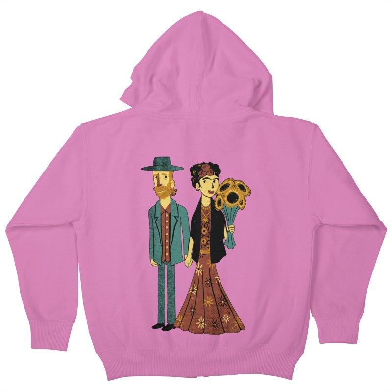Love is Art Frida Kahlo and Van Gogh  Kids Zip-Up Hoody by Tobe Fonseca's Artist Shop